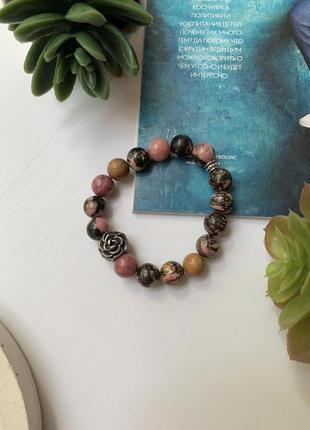 Женский браслет ручной работы из натурального камня родонит