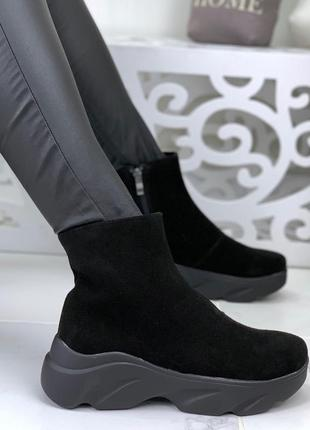 Натуральная замша люсковые замшевые осенние ботинки хайтопы на...