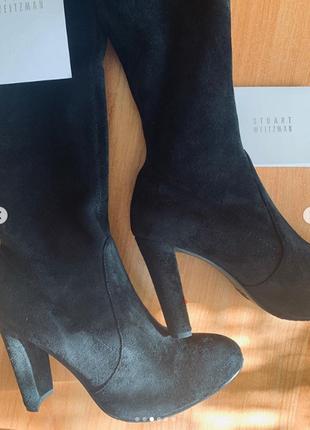 Ботфорты stuart weitzman черные замшевые на высоком каблуке