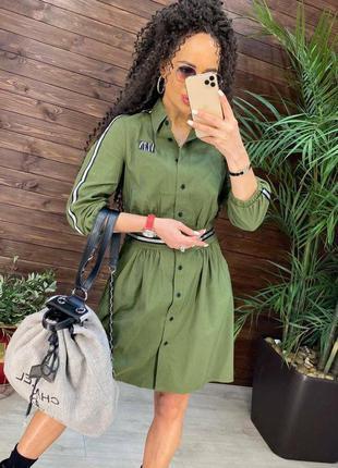 Платье хлопковое оливка