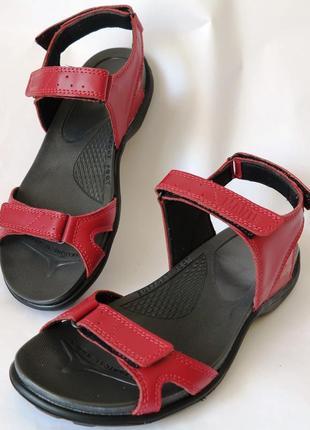 Кожаные красные женские летние сандалии босоножки без каблука ...