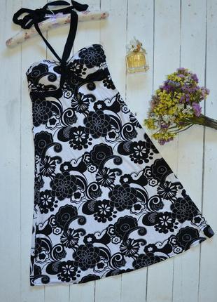 Черно белое платье-сарафан select