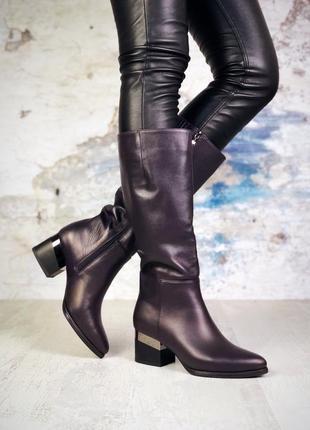 Натуральная кожа элегантные осенние кожаные сапоги на небольшо...