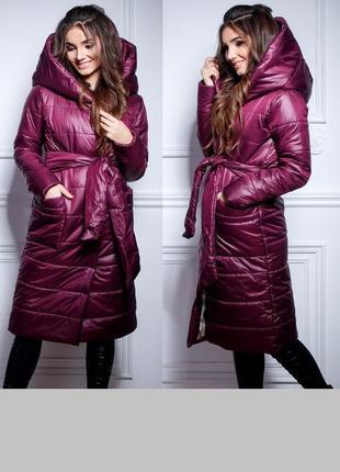 Пальто-пуховик норма и батал цвета марсала, тренд сезона