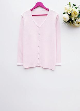 Нежно розовый свитер на пуговицах свитер кардиган большой размер