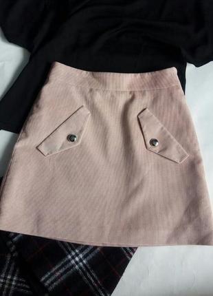 💓1+1=3 юбка вельветовая пудра нюд💓