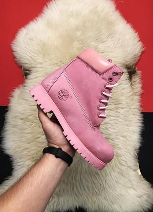 Ботинки женские timberland pink fure premium.(осень/зима)