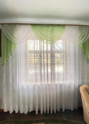 Тюль зелёная на 2 окна