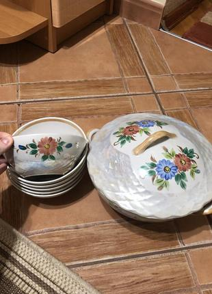 Набір: супниця + 6 тарілок