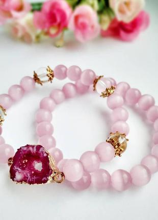 ⚜️💖 двойной браслет из розового кошачьего глаза 💖⚜️