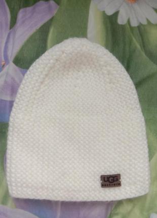 Ugg новая белая вязаная теплая шапка
