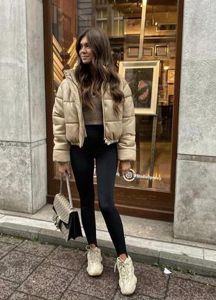 Кожаная куртка пуффер курточка zara размер xs