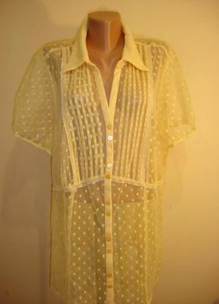 Нарядная желтая блуза-сетка в горохи--evans--сток--