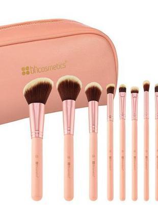 Набор кистей в косметичке bh cosmetics 14 штук розовые