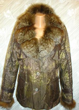 Модная куртка с воротником чернобурки на кролике 48-50 р.