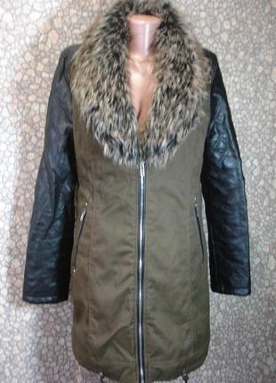 """Демисезонная куртка-пальто с искусственным мехом """"atmosphre """""""