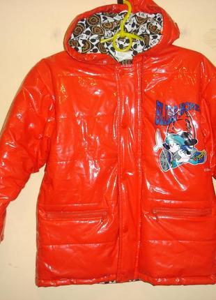 Яркая демисезонная куртка на  утеплителе   disney- рост 126 см
