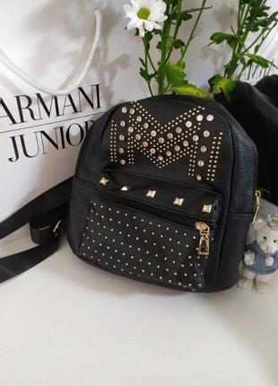 Стильный черный кожаный мини рюкзак chicoree accessories