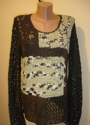 Стильный ажурный свитер 48-50 р