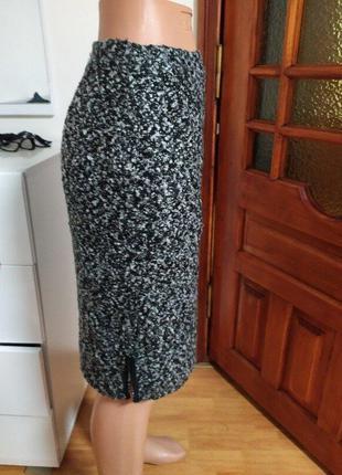 Твидовая юбка карандаш букле шерсть 42 s