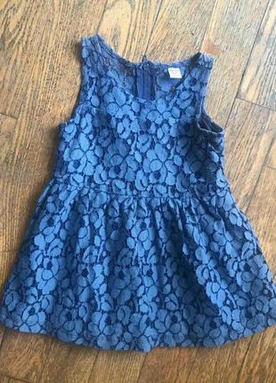 Синее ажурное платье от gloria jeans