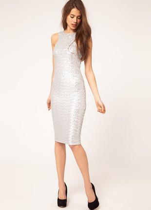 Вечернее платье миди пайетки tfnc london