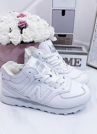 Белые кожаные кроссовки на меху,зимние теплые кроссовки из нат...