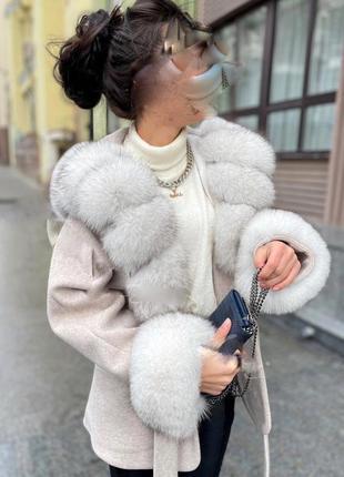 Пончо пальто с мехом