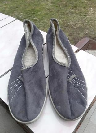 Тапочки серые на меху 38р