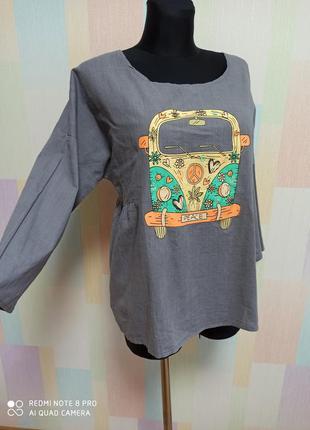 Льняная блузка с аппликацией ,блузка для беременных