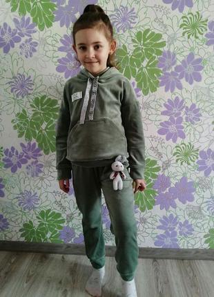 2 цвета!!!бархатный спортивный костюм для девочки