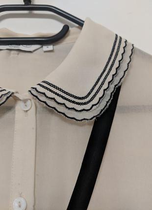 Красивая бежевая блузка с вышивкой и шифоновой лентой new look