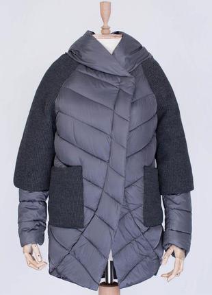 Пуховик-куртка с вязаными рукавами и карманами зимняя куртка н...