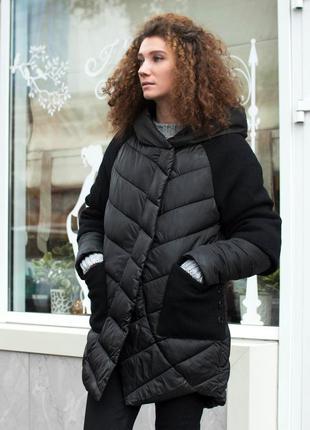 Пуховик с вязаными рукавами и карманами зимняя куртка на магни...