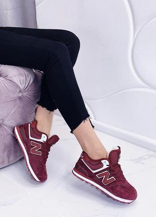 Новые женские зимние кроссовки цвета марсала