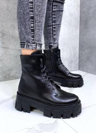 Женские ботинки кожаные на меху