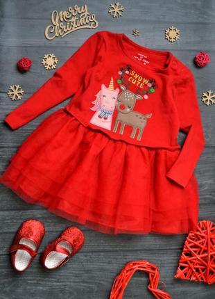 Новогоднее платье с фатиновой юбкой эдинорог олень 12-18месяцев