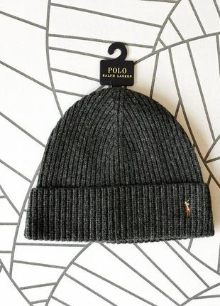 Шапка, бини polo ralph lauren signature pony wool-blend beanie