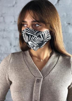 Многоразовая маска для лица черная с белым рисунком