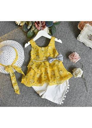 Костюм летний на девочку с шляпкой желтый