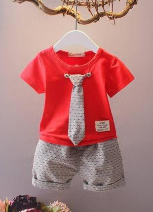 Летний костюм для мальчиков с галстуком красный