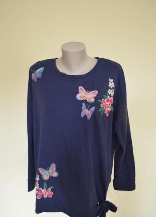 Шикарная брендовая трикотажная кофточка блузочка красивая вышивка