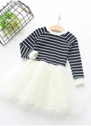 Платье детское белое, черный верх