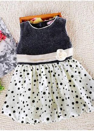 Детское платье черное с белым с бантиком