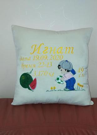 Подушка подарок метрика новорожденному крестнику ребенку сыну ...