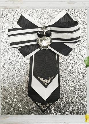 Брошь, галстук с кулоном сова, ручная работа, эксклюзивное укр...