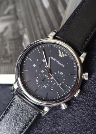 Мужские часы хронограф emporio armani classic ar1828 на кожано...
