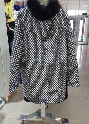 Пальто женское букле демисезонное с мехом большой размер к59
