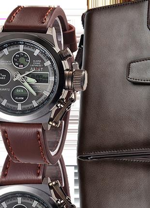 Комплект армейские часы amst + клатч baellerry business black