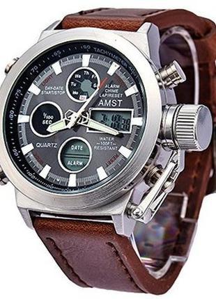Ударопрочные кварцевые армейские часы amst silver